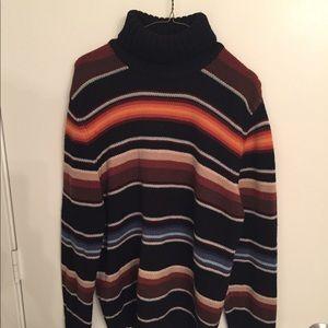 Black/Brown/Orange Express Turtleneck Sweater